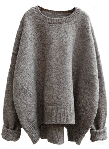 Heather Gray Batwing Loose Fit Sweater