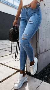 Blue Denim Ripped Jeans