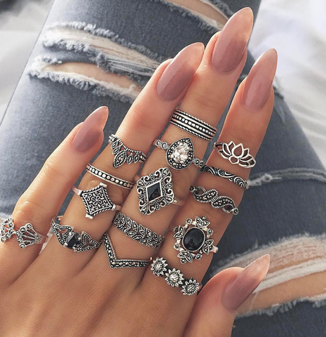 Antique Metallic Silvery 15 PCS Ring Set