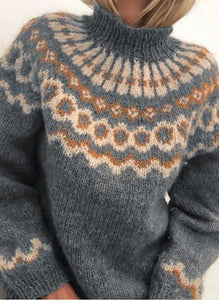 Grey Christmas Print Knit Sweater
