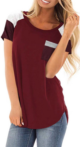 Burgundy Pockets Short Sleeve Tee