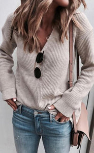 Light Khaki Ribbed Knit V Neck Sweater
