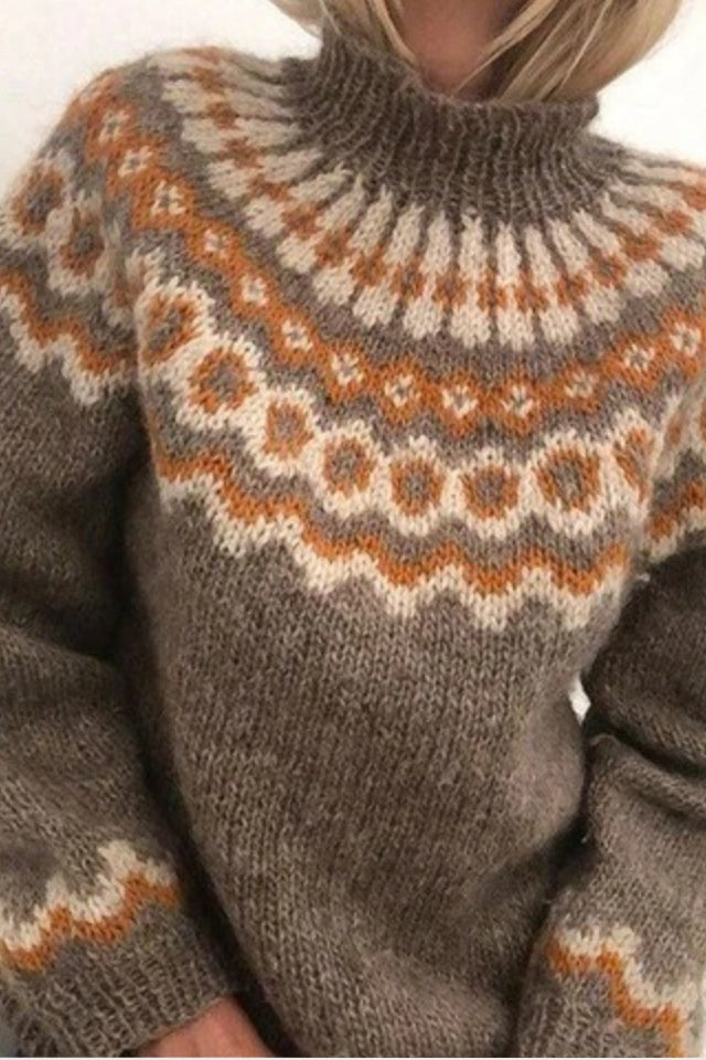 Khaki Christmas Print Knit Sweater