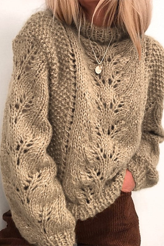 Khaki Turtleneck Crochet Knit Sweater