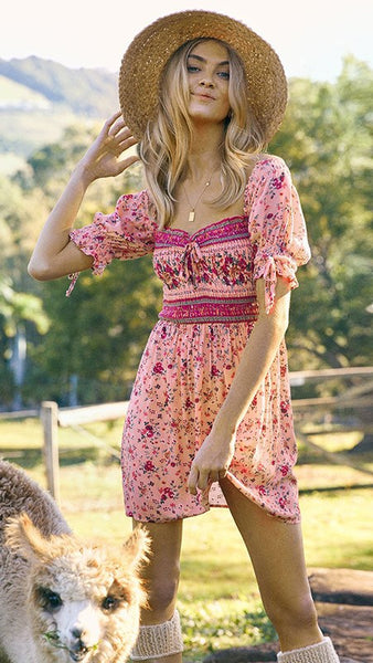 Pink Floral Boho Off Shoulder Dress