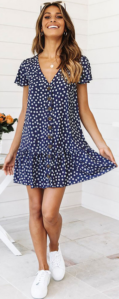 Navy Floral Button Up Short Sleeve Dress