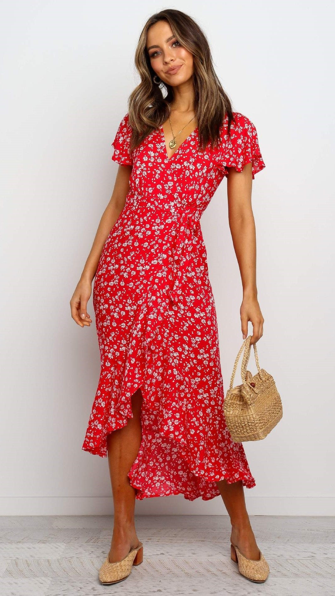 Vibrant Red Floral Surplice Knot Dress