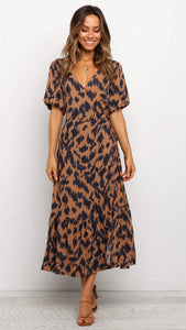 Brown Animal Print Slit Dress