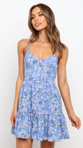 Royal Blue Floral Slip Dress