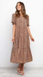 Brwon Leopard Print Maxi Dress