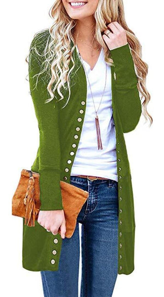 Green Basic Button Down Knitwear Long Cardigan