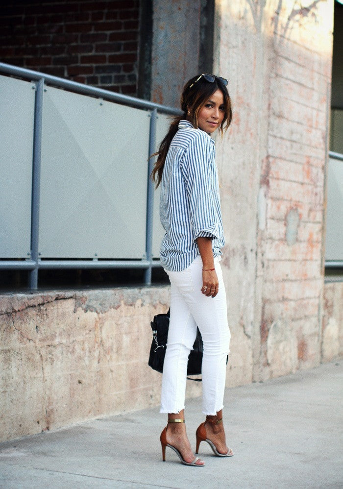 Classic Blue And White Striped Button Down Shirt Jassie Line
