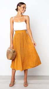 Yellow Polka Dot Midi Skirt