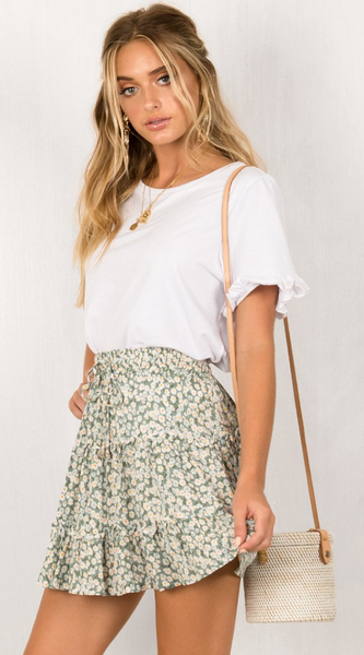 Green  Print Withdraw Mini Skirt