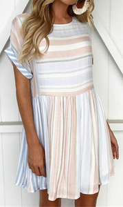 Pastel Stripe Pleated Skater Dress