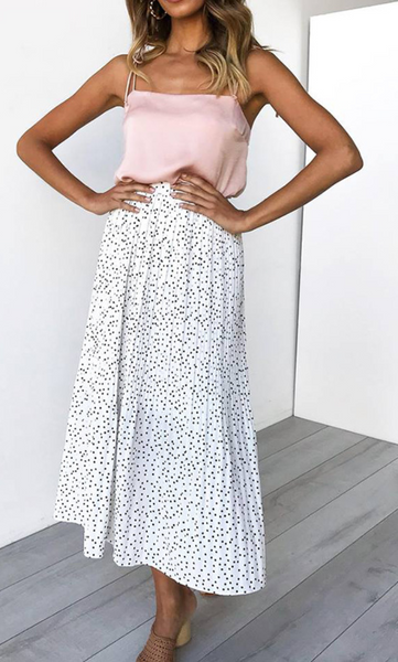 White Polka Dot Maxi Skirt