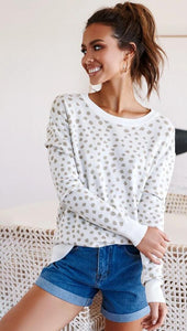 White Leopard Print Long Sweater