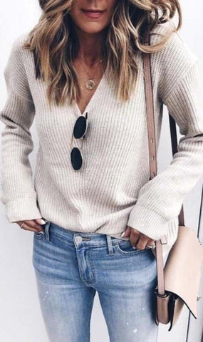 White Ribbed Knit V Neck Sweater