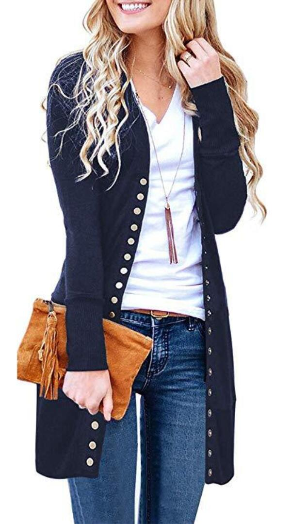 Navy Blue Basic Button Down Knitwear Long Cardigan