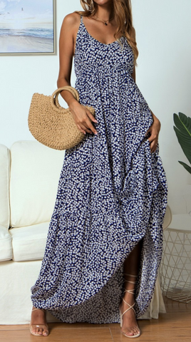 Navy Floral Loose Cami Maxi Dress