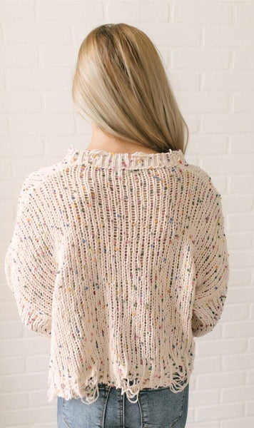 Beige Colorful Heather Knit Destroyed Sweater