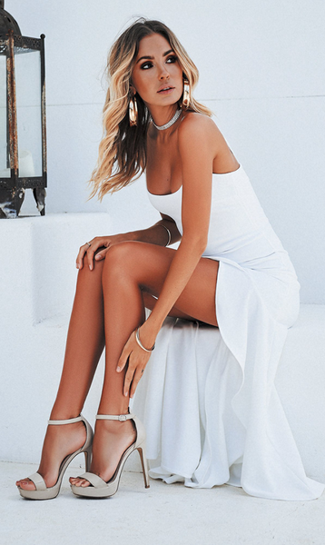 White Slip Tail Dress