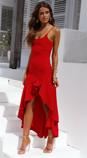 Red Slip Tail Dress