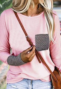 Pink Patterned Pockets T-Shirt