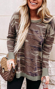 Coffee Camo Print Sweatshirt