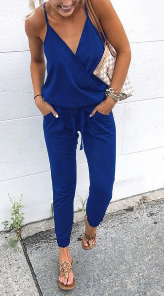 Minimal Surplice V Neck Jumpsuits (5 Colors)