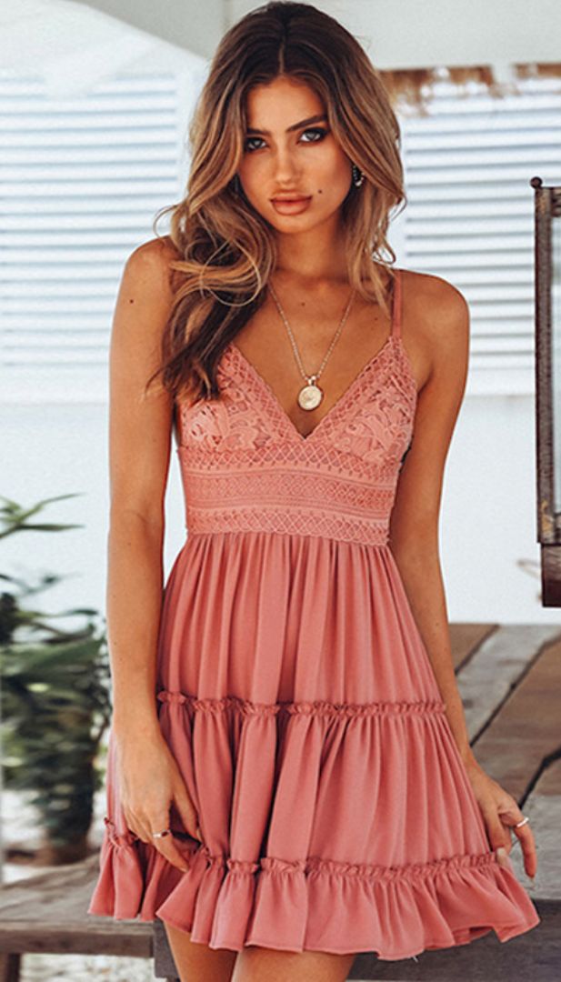 Solid Lace Bowtie Cami Skater Dress