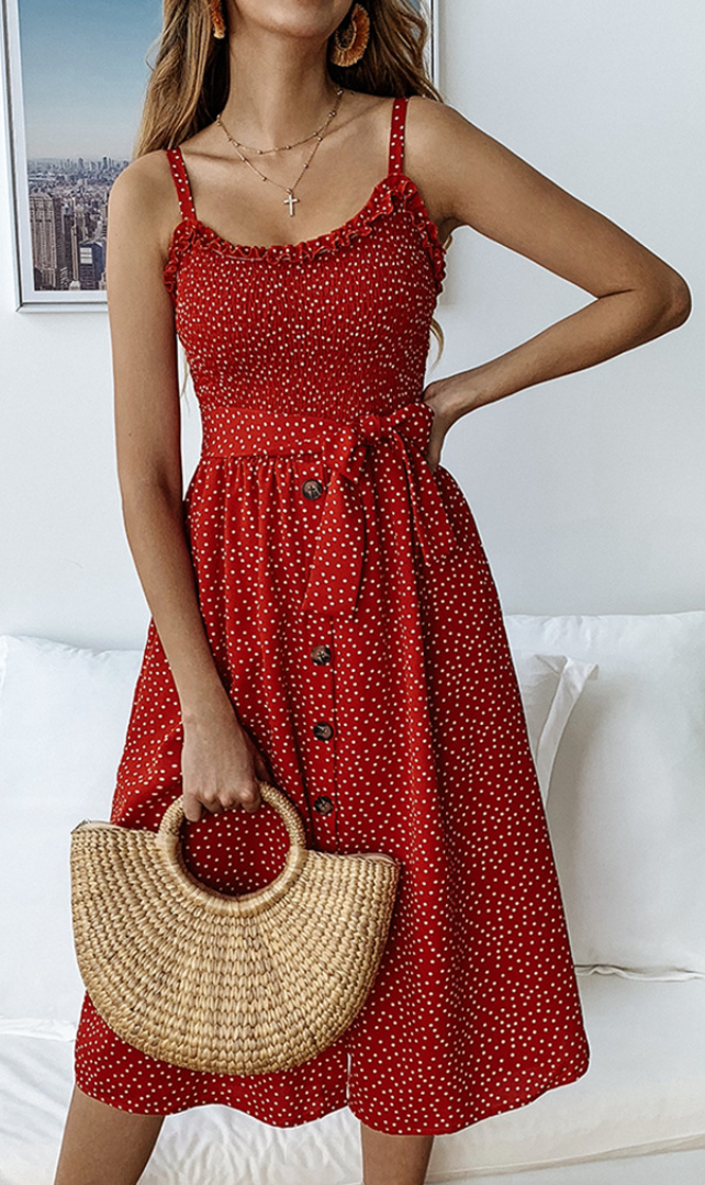 Red Polka Dot Buttoned Slip Dress