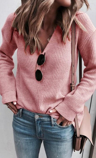 Pink Ribbed Knit V Neck Sweater
