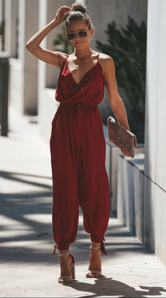 Burgundy Surplice V Neck High Slits Jumpsuits