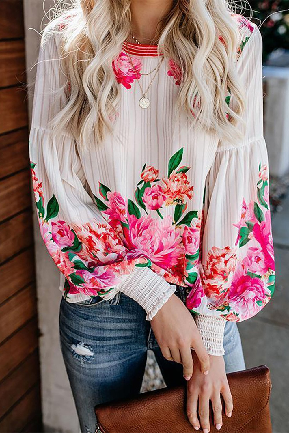 Crewneck Floral Printed Balloon Sleeves Blouse