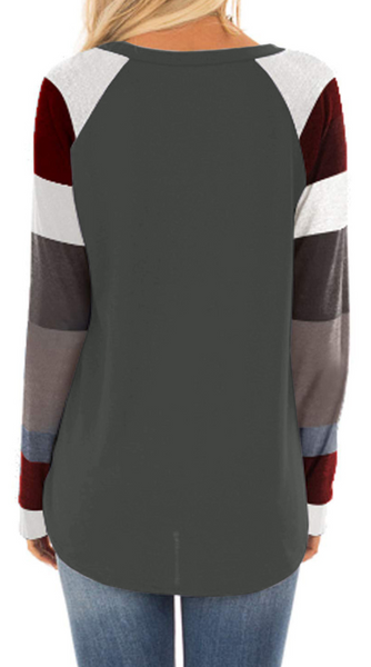 Color Block Raglan Sleeve Long T-Shirt