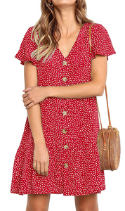 Red Dot Button Up Short Sleeve Dress