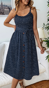 Navy Polka Dot Buttoned Slip Dress