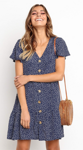 Navy Dot Button Up Short Sleeve Dress