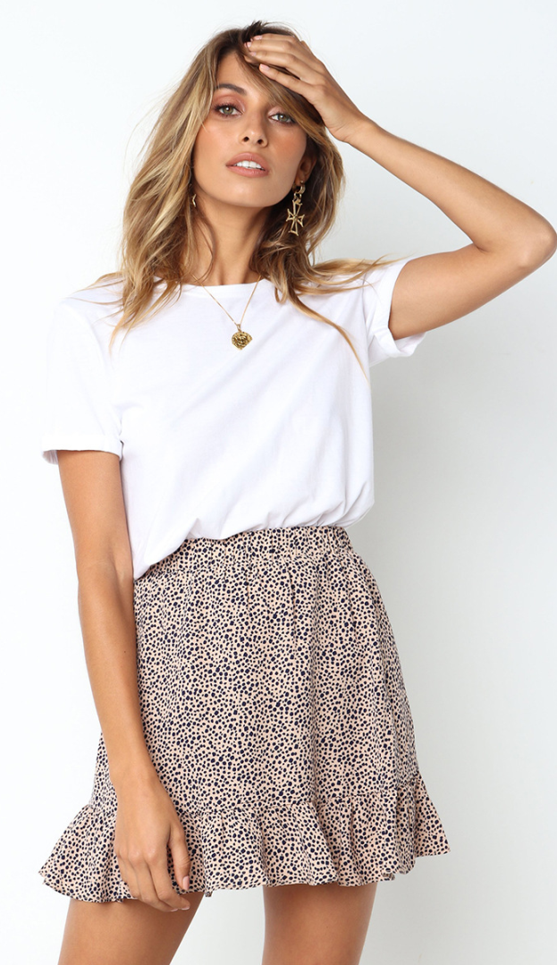 Beige Leopard Print Mini Skirt