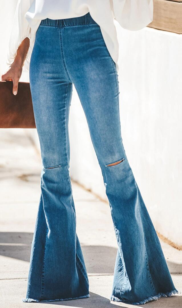 Blue Ripped Denim Bootcut Jeans