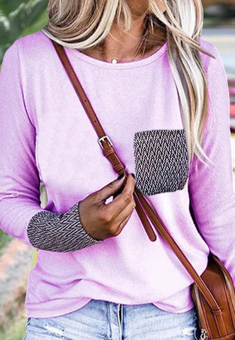 Purple Patterned Pockets T-Shirt