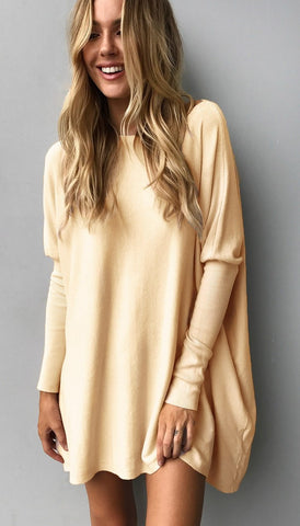Yellow Slouchy Batwing Oversized Tunic