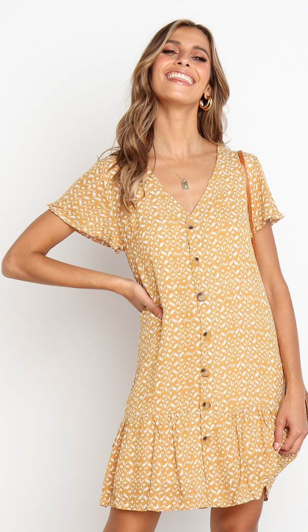 Yellow Abstract Print Button Up Short Sleeve Dress