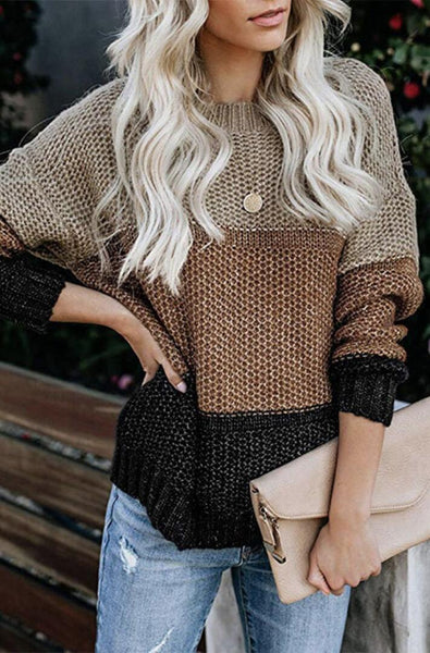 Khaki Color Block Pullover Knit Sweater