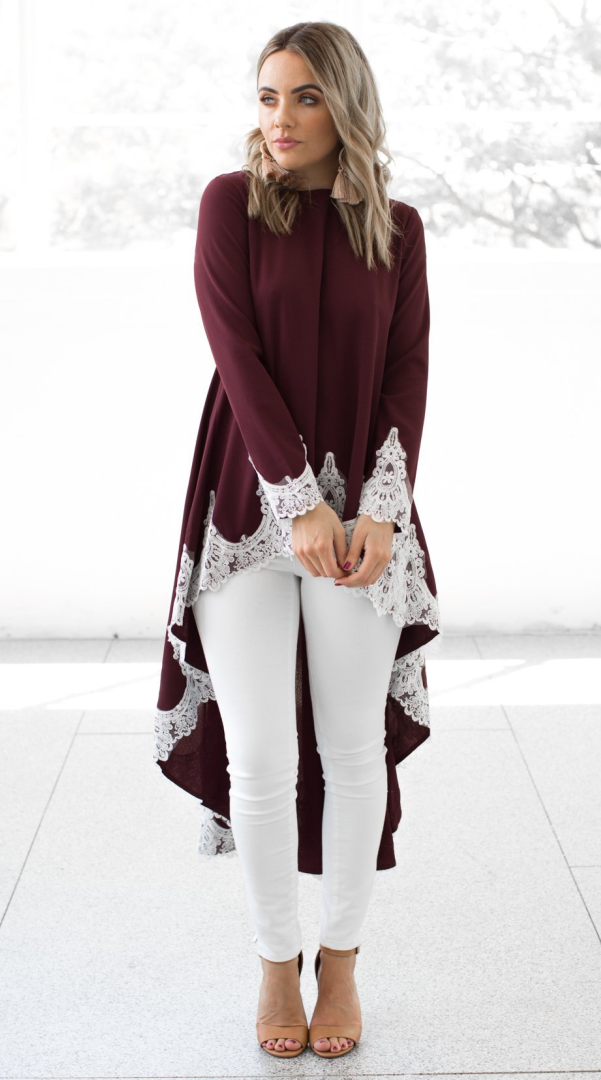 Patched Lace High Low Long Tunic