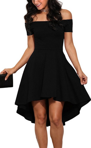 Off The Soulder High Low Cocktail Skater Dress