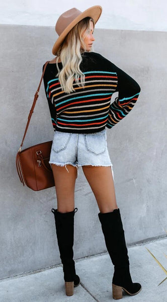 Black Rainbow Stripe Pattern Sweater
