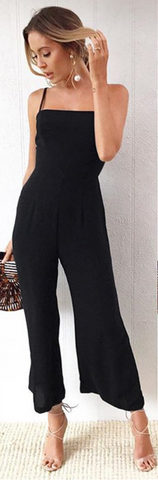 Black Cami Wide-Leg Jumpsuits