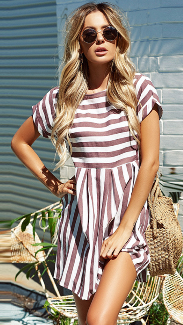 Dusty Pink Stripe Pleated Skater Dress